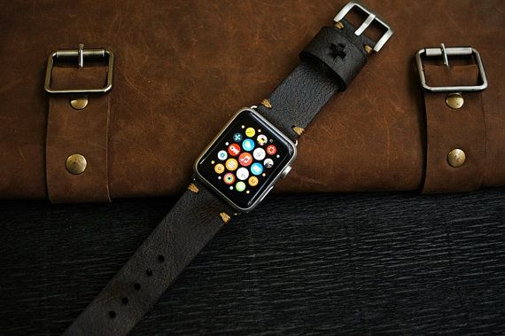 Custom Made Vintage Leather Strap incl. Lugs Adapter for Apple Watch (or Apple Watch Sport) 42mm or 38mm BF15-D2 incl Buckle