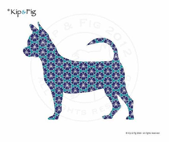 Smooth haired Chihuahua applique template  pdf by KipandFig, £2.00