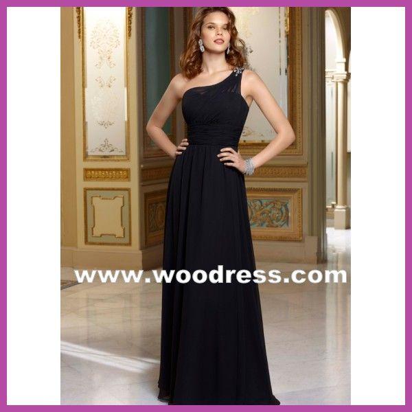 elegante een schouder prinses Bruidsmeisjekleding  zwart chiffon lange stijl 655