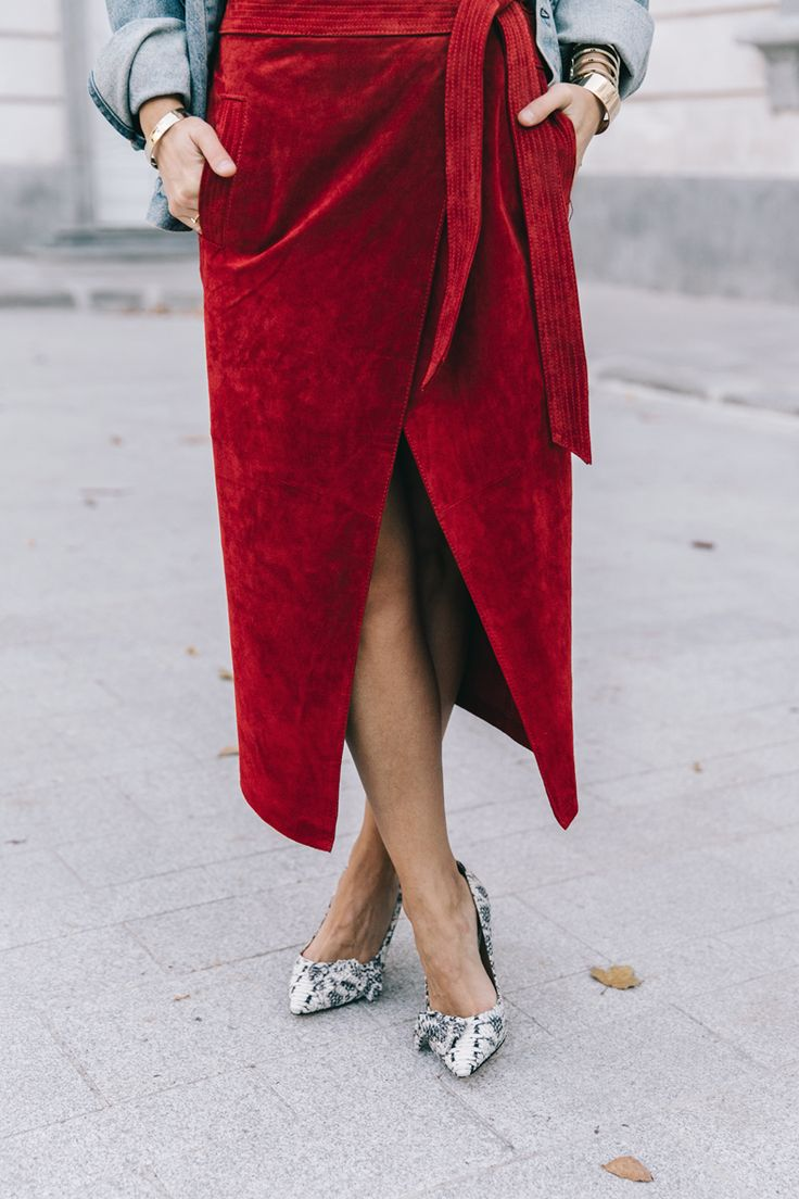 Wrap Red Skirt | Collage Vintage