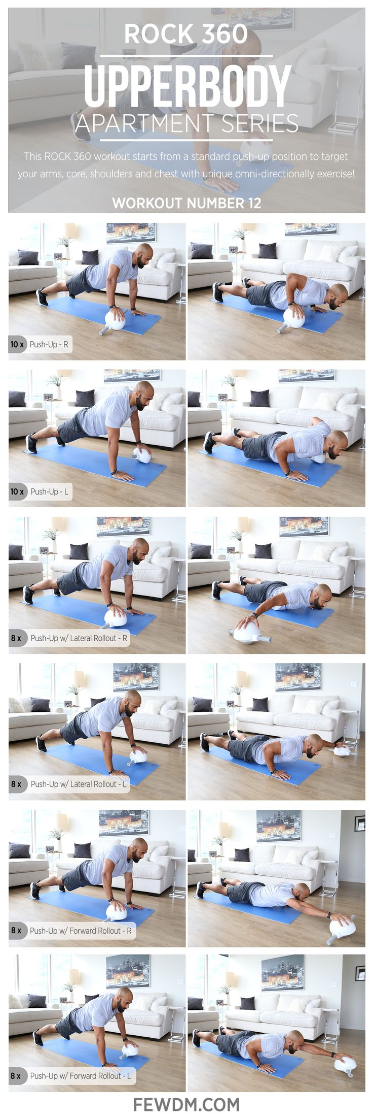 New, upper body exercises with ROCK 360 are challenging and engaging!  Workout #12 in the Apartment Series, Upper Body.