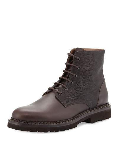 Brunello+Cucinelli+Leather+Lace+Up+Hiking+Boots+|+Footwear
