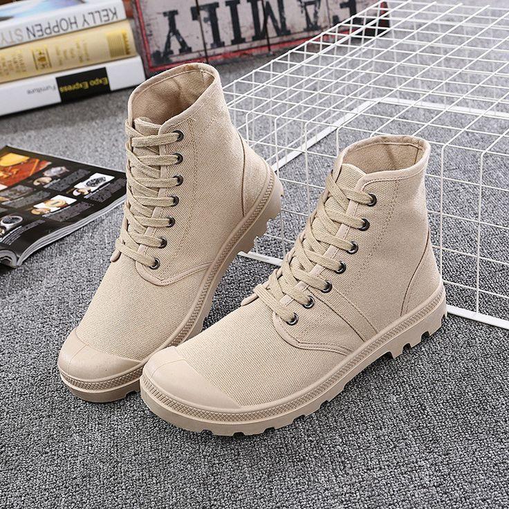 Новый Женский Мода Высокая Топ Повседневная Холст Обувь Военные Ботинки Удобная Chaussure Homme Botas Militares Hombre J246 купить на AliExpress