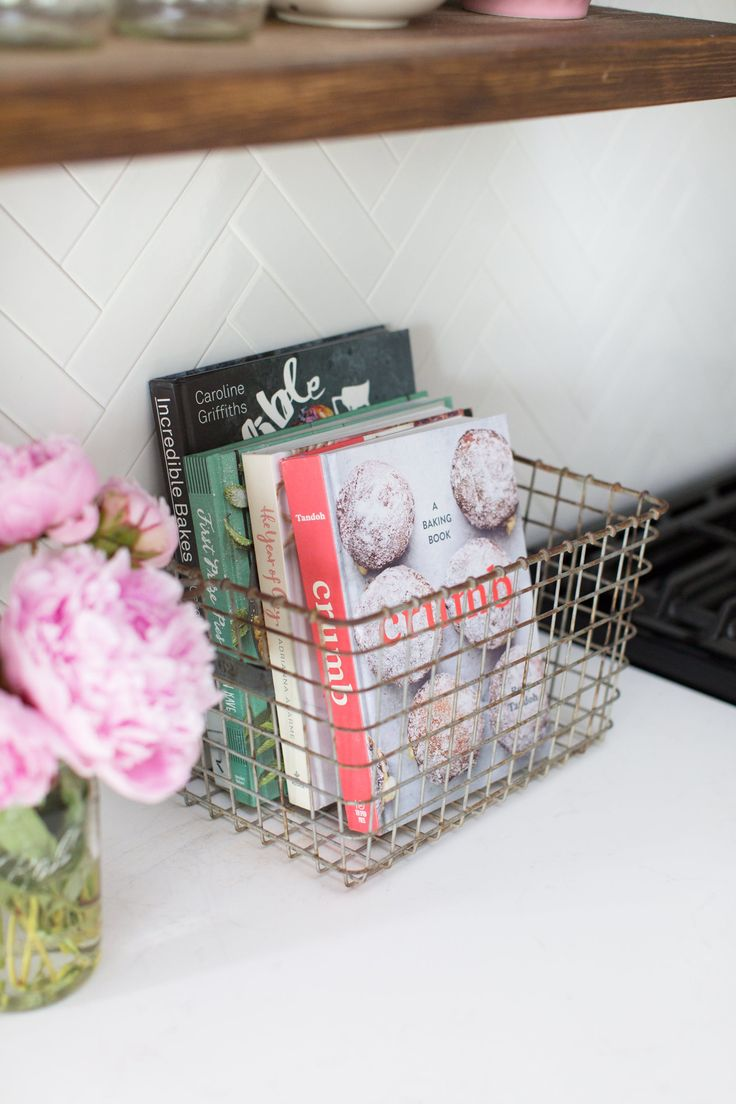One of Jessica's favorite kitchen items (minus the gorgeous peonies) is her collection of cookbooks.