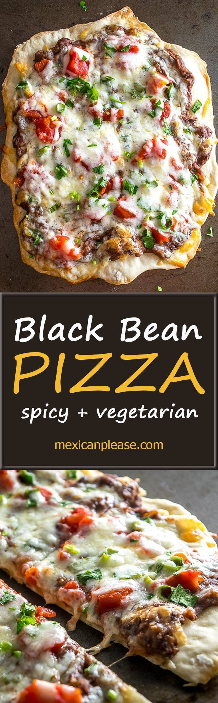 This Spicy Black Bean Pizza relies on a delicious black bean puree and a thin layer of garlic oil to create a vegetarian delight.  Easy to make too!  mexicanplease.com