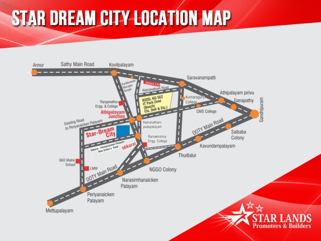 Star Dream City – Location Map #StarDreamCity location map Star dream city, is located in saravanampatty / Keeranatham – the IT corridor of Coimbatore. It is also a stone's throw away to the 200 acre special economic zone (SEZ). It is 15kms to Gandhipurm, 16kms to railway-station, and 10kms to airport. just call : Star Lands Promoters & Builders – 95006 45566