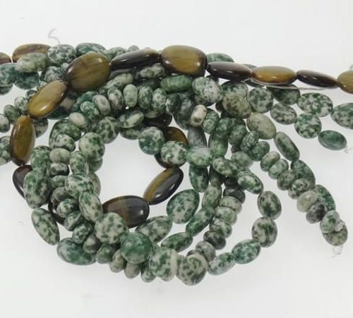 ***CLEARANCE*** GEMSTONE BEADS - NATURAL - GREEN SPOT STONE - 7-10mm - 5 STRAND LOT. AVAILABLE AT:http://www.bidorbuy.co.za/item/232382677/_CLEARANCE_GEMSTONE_BEADS_NATURAL_GREEN_SPOT_STONE_7_10mm_5_STRAND_LOT.html