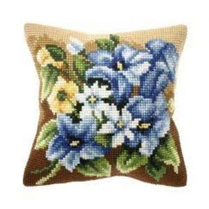 Orchidea Spring flowers cross-stitch cushion kit.
