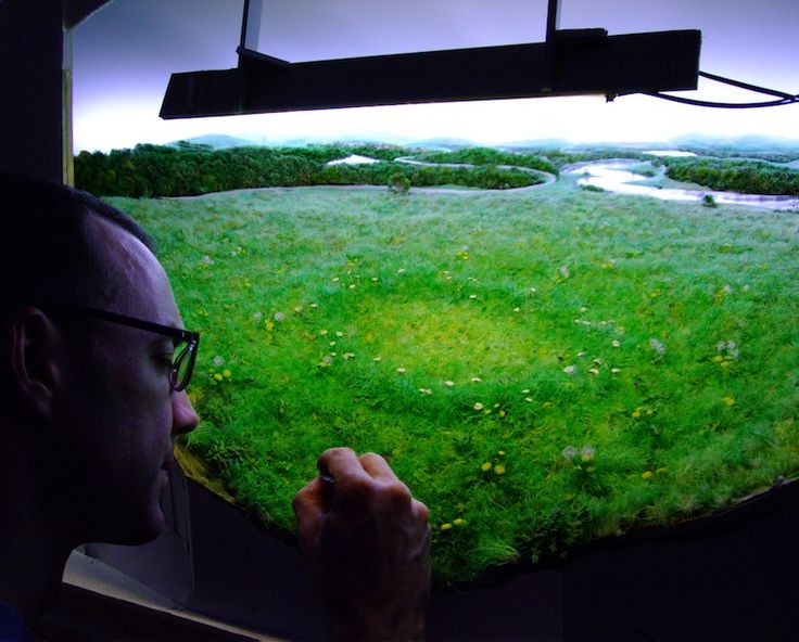Patrick Jacobs at work on one of his dioramas