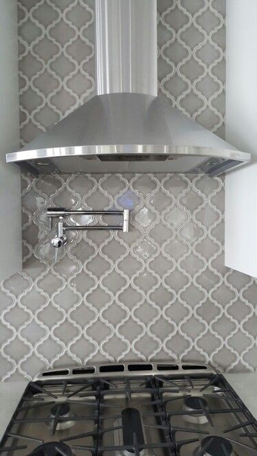 Arabesque Grey Kitchen Backsplash by cs4flooring
