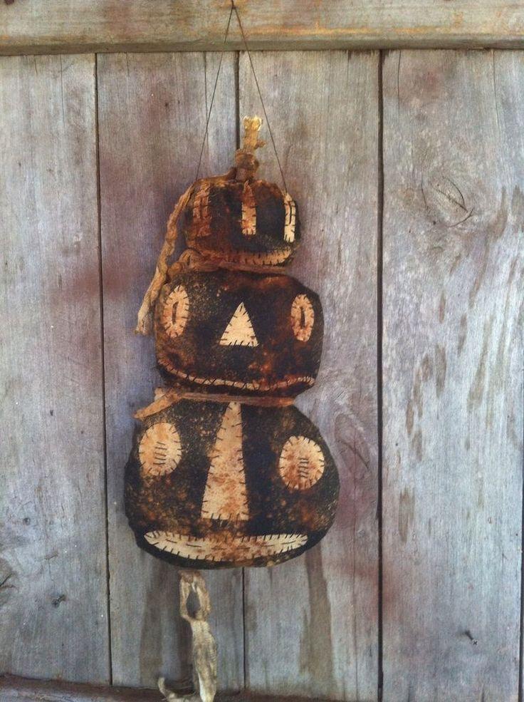 Primitive Black Pumpkin Door doll Greeter hanger charmer Totem Halloween grungy #NaivePrimitive