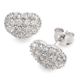 Heart Diamond Stud Earrings In 9k White Gold (0.76ct tw)