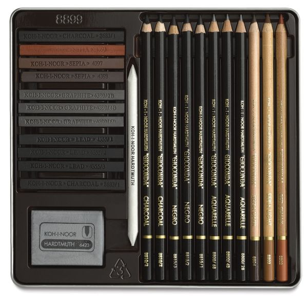 Koh-I-Noor Giocaonda Art Set -- Koh-I-Noor Gioconda Art Sets contain a selection of quality drawing materials that are well-suited for both advanced and intermediate artists. Materials such as graphite, aquarelle pencils, and essential tools are great for drawing, sketching, and toning. The sets are housed in metal boxes.
