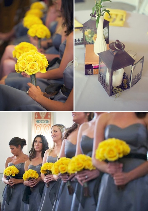 yellow and grey wedding. Maybe pink and grey? Or burgundy and grey?