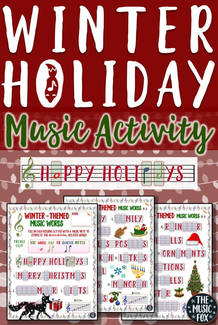 This Winter Holiday Music Activity Is A Fun Way For Students To Learn The Note Names On The Music Staff By Drawing In The Missing Letters Of The Musical