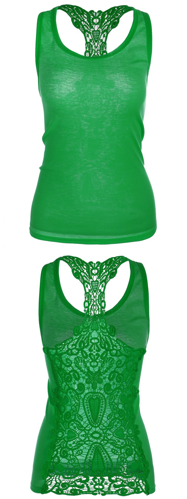 $7.88 Lace Panel Racerback Tank Top - Green