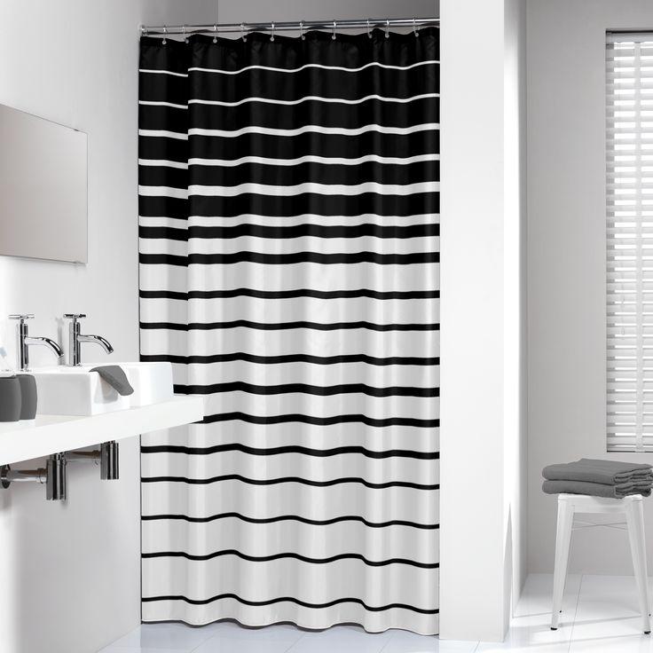 Dit zwart wit gestreepte douchegordijn past in elke moderne en strakke badkamer. Samen met een zwarte badmat en een op maat gemaakte douchestang kunt u genieten van uw ontspanningsmomentje.