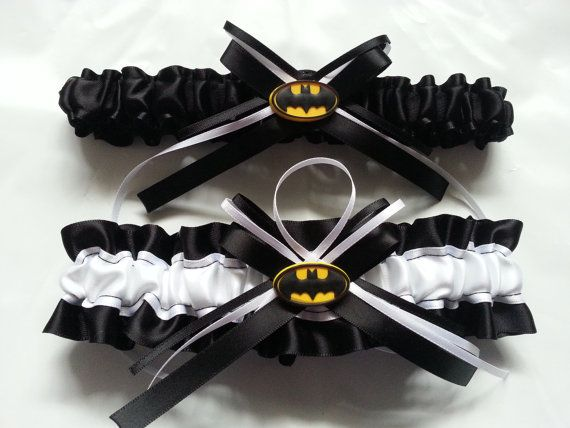 Batman Themed Wedding Garter SET black and by AussieWeddingGarters, $44.00
