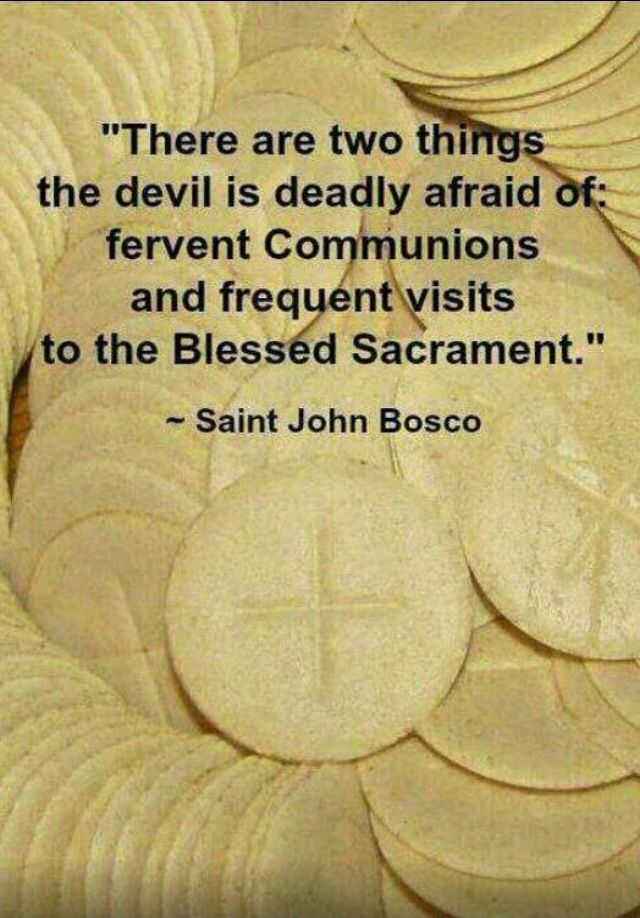 """There are two things the devil is deadly afraid of: fervent Communions and frequent visits to the Blessed Sacrament. "" - Saint John Bosco"
