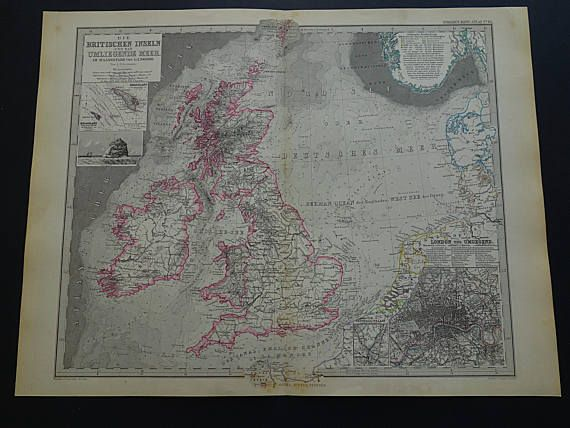 ENGLAND old map of Great-Britain 1884 large original antique