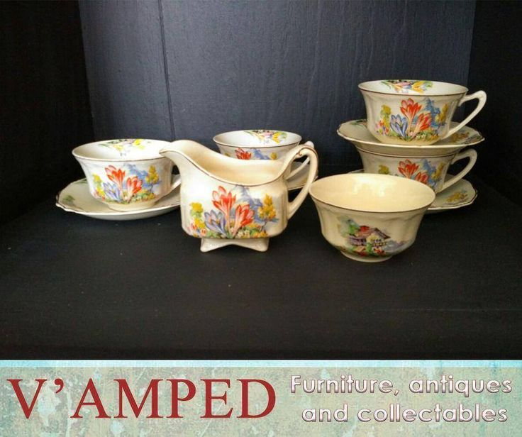 """Planning a vintage tea party with close friends? Get this J.G. Meakin """"Sunshine"""" 4teacups & saucers set, available from #VampedFurniture. Contact Rory on 076 983 4008 for more information. Delivery available nationwide on arrangement."""