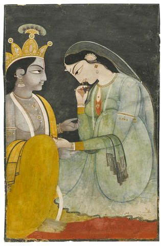 Radha and Krishna Kangra, mid to late 19th century