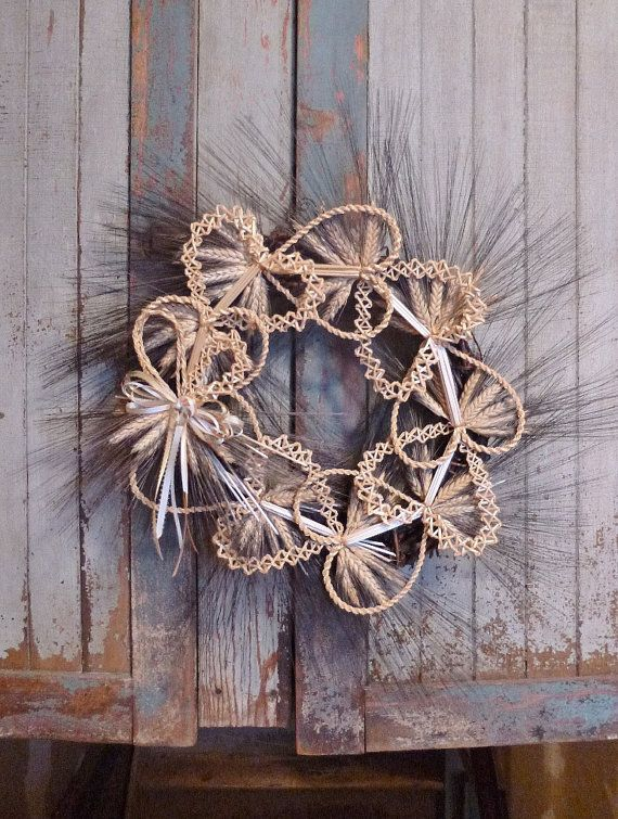WHEAT WEAVING WREATH of Hearts Welcome Love and by WoodsorrelDixie
