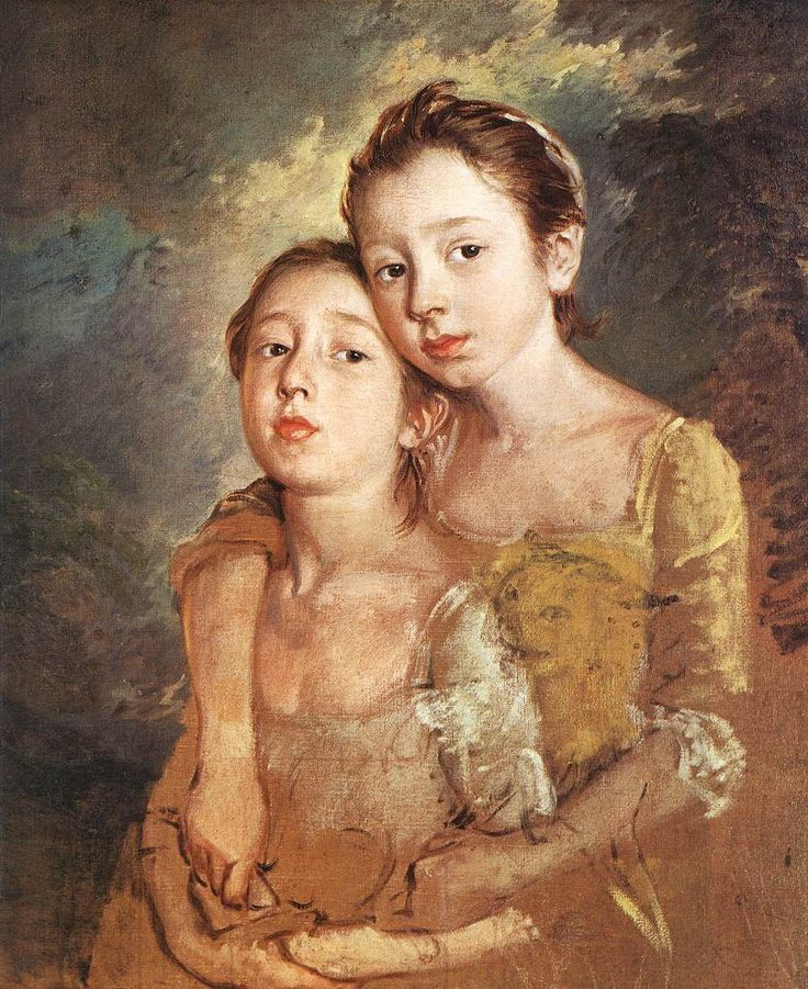 Thomas Gainsborough, The Painter's Daughters with a Cat, c.1760-61, oil on canvas, The National Gallery Here are Mary and Margaret Gainsborough, aged between 9 and 10, and 8 and 9 respectively. The somewhat vicious-looking cat, referenced in the painting's title, has been left unfinished.   Here they are again, those gorgeous little girls.  How lovely he sees them.