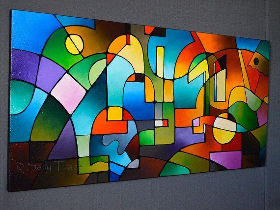 Abstract geometric modern acrylic painting by SallyTraceFineArt