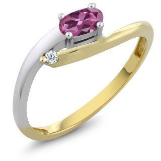 Beautiful 2 tone genuine tourmaline and diamond ring Sizes:  6  7  8  9  Free Shipping