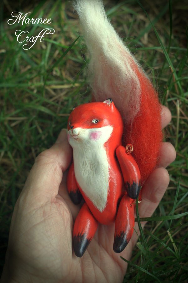 Fox woodland polymer clay art doll, Mr. Foxling. $78.00, via Etsy.