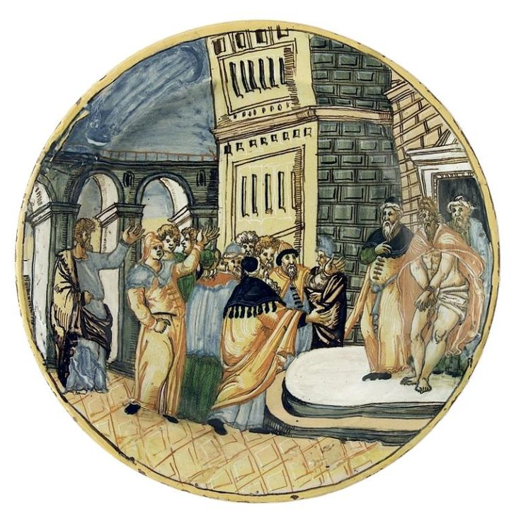 Assiette (tagliere) : Ecce Homo, Lyon (ou Italie ?), seconde moitié du XVIe siècle. MAD 3380. Don Société des Amis des musées, 2004. © Musée des Arts décoratifs de Lyon, Pierre Verrier