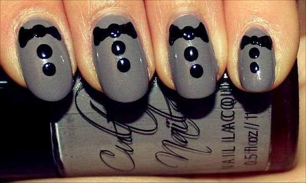 Bowties Are Cool - Tuxedo Nail Art not completed