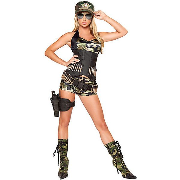 army baby costume sexy army girl costume includes short and top with waist cincher matching hat and bullet belt detail sexy female army costume - Soldier Girl Halloween Costume