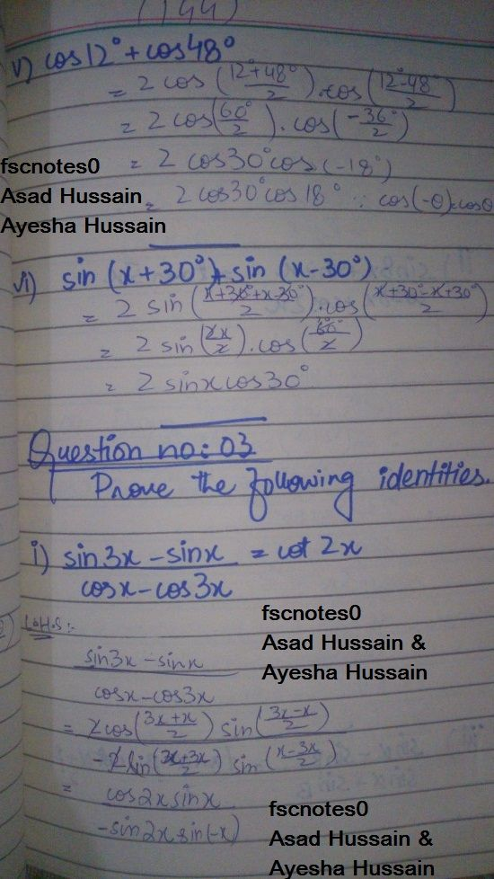FSc ICS FA Notes Math Part 1 Chapter 10 Trigonometric Identities Exercise 10.4 Question 3 - 4 written by: Asad Hussian & Ayesha Hussain