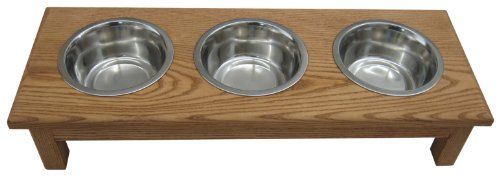 Classic Pet Beds 3-Bowl Traditional Style Ash Pet Diner, Small, Cherry