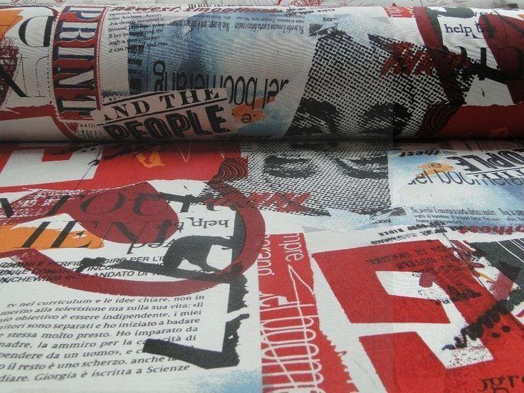 "Decoratie D508 digiprint knipsels magazine ""people"" rood, zwart, ecru, bauw - Bas Bastiaans"