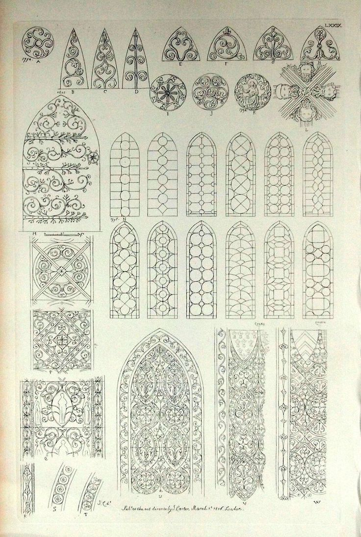 1845 Rare Large English Antique Engraving of British Architectural Gems. Windows in Wells Cathedral, Somerset, the UK. Plate 79