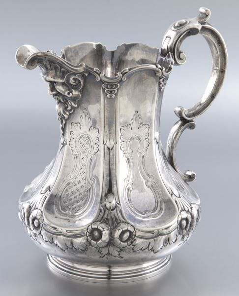 John C. Moore coin silver water pitcher c.1840  : Lot 52