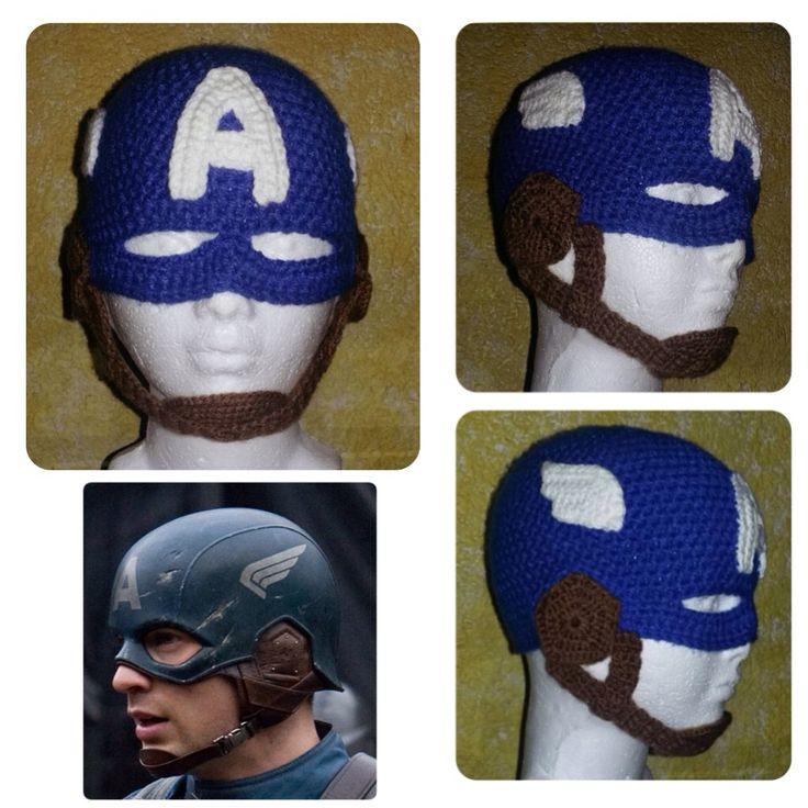 Captain America, crochet hat, crochet beanie, by LaniKRM.