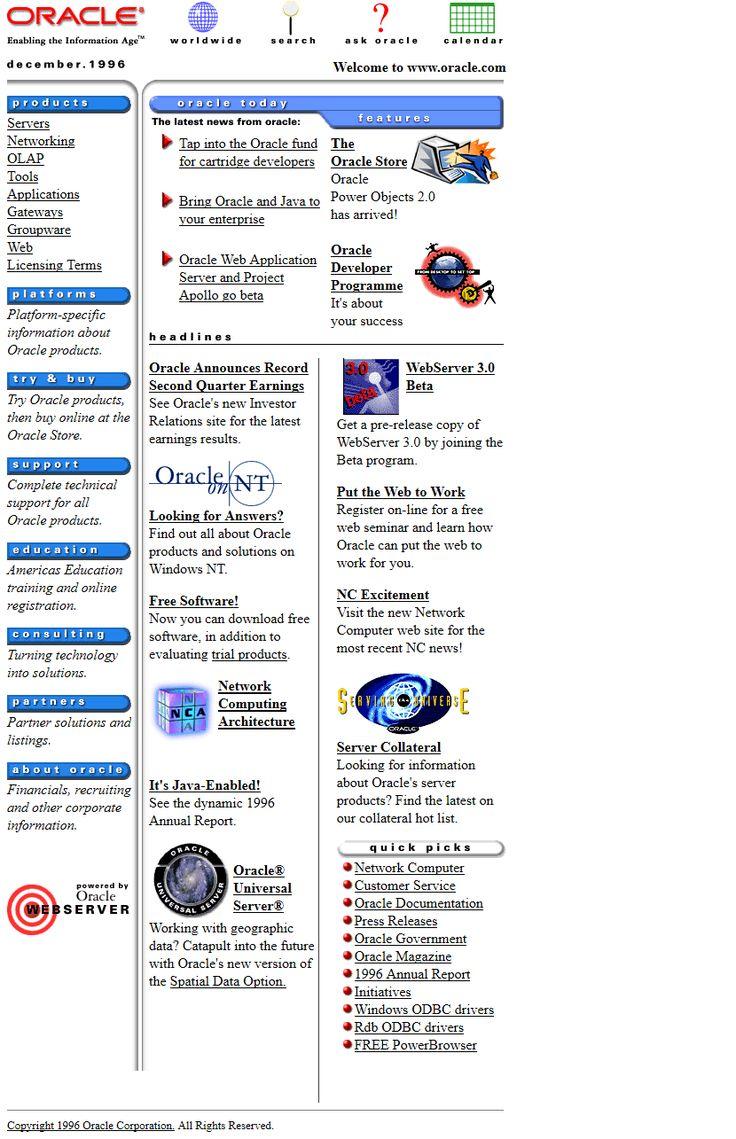 Oracle website in 1996