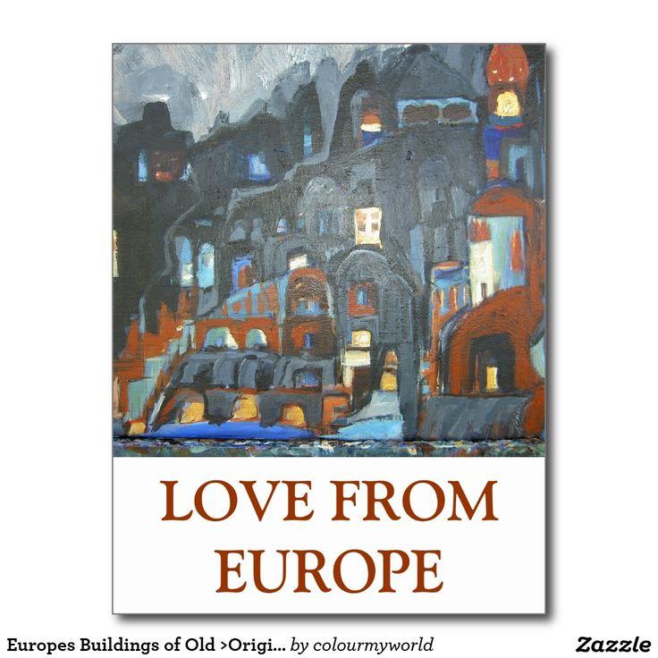 Europes Buildings of Old >Original Painting Postcard