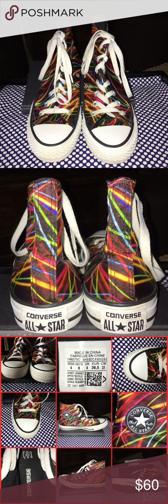 RARE Neon Converse Light Photography Graphics RARE LIMITED EDITION Chuck Taylor High Top Converse - Phosphorescent Neon Light Trail Photography Graphics. Made of satin canvas textile.   Super Unique, Super Cool. Maybe worn once or twice.   Please feel free to ask questions and for more photos. Most photos taken with flash to capture details.   As always please double check and examine photos to determine condition for yourself.   ⚡️Ours is a non smoking home. Converse Shoes Sneakers