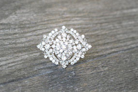 Oval Art Deco Crystal Brooch Swarovski Crystal by EdenLuxeBridal, $48.00