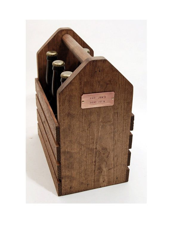 Great for the Homebrewer or Beer Enthusiast in your life - Personalized Wooden Six Pack Carrier