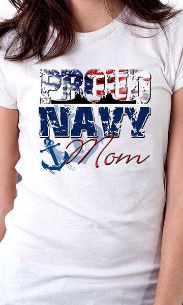 Proud Navy Mom T-Shirt by MagikTees on Etsy