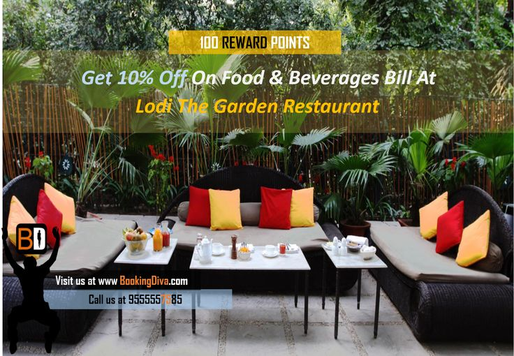 Book through us and Get 10% off at the Lodi Garden Restaurant. #BookingDiva For instant bookings visit: www.bookingdiva.com/lodi-the-garden-restaurant-central-delhi-lodhi-road-european-lebanese-mediterranean/?search=1&seating=2&date=14-07-2014&time=43