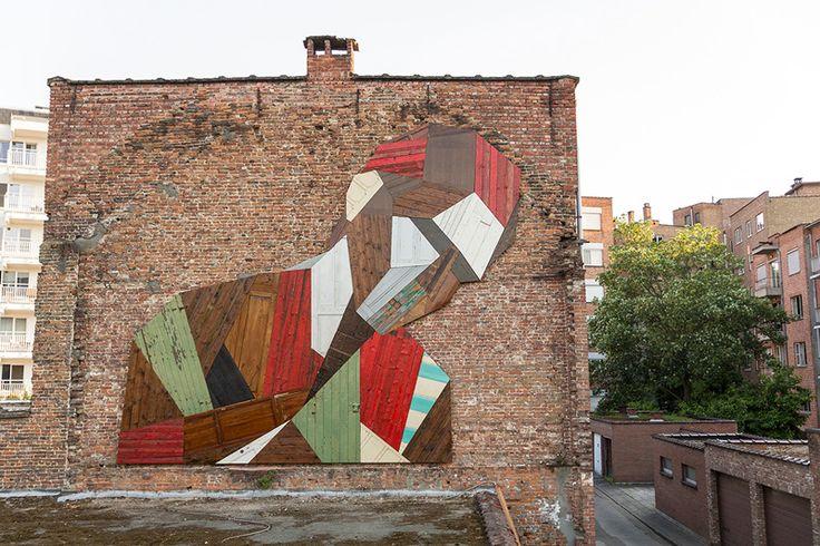 """""""Elsewhere"""" / """" Ailleurs"""" / Made from discarded wood. / Fait de bois mis au rebut. / Mechelen. / Belgium. / Belgique. / By Stefan De Crook."""