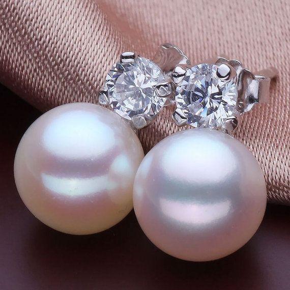 freshwater pearl earrings silver,pearl stud earrings,nickle free pearl earrings,pearl sterling silver earrings,real pearl earings,ER034 on Etsy, $38.00