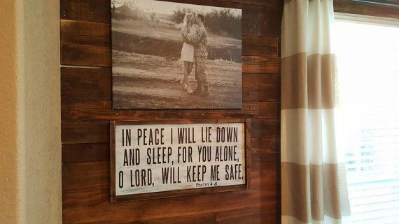 """A hand painted wood sign with the verse """"In peace I will lie down and sleep, for you alone, O Lord, will keep me safe"""" - Psalm 4:8  Size -- 1'x2' Hand stained and painted wood. #HomeDecor #WoodenSign #CountryRise #Psalm4:8"""